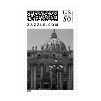 Black White Dome St Peters Basilica Rome Postage