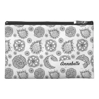 Black & White Doodle Pattern Zipper Name Bagette Travel Accessory Bag