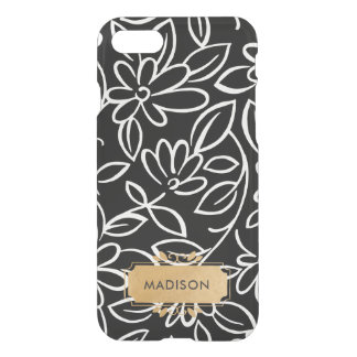 Black White Doodle with faux gold name plate iPhone 8/7 Case