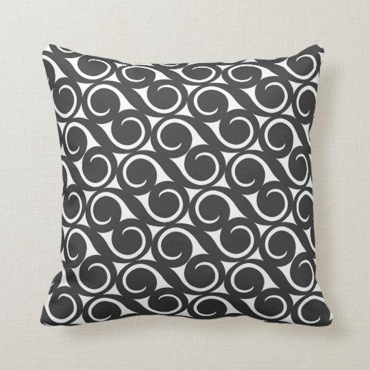 Black White Dot Curls Wave Pillow