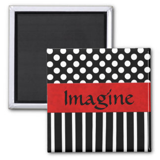 Black & White Dot & Stripe Magnet