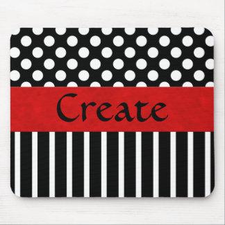 Black & White Dot & Stripe Mouse Pad