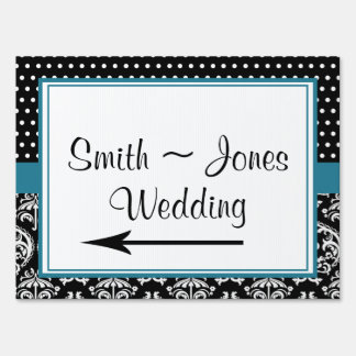 Black White Dots and Damask Wedding Direction Sign