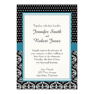 "Black White Dots and Damask Wedding Invitation 5"" X 7"" Invitation Card"