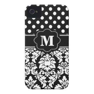 Black White Dots Damask Monogram iPhone 4 Case