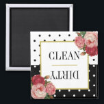 """Black White Dots Floral Clean Dirty Dishwasher Magnet<br><div class=""""desc"""">This beautiful,  elegant dishwater magnet design features vintage red and pink roses against high-contrast black and white polka dots. In the center is a gold edged white square with the words,  &quot;Clean&quot; and &quot;Dirty, &quot; separated by a thin gold bar.</div>"""