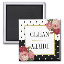 Black White Dots Floral Clean Dirty Dishwasher Magnet