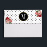"""Black White Dots Floral Monogram Return Address Envelope<br><div class=""""desc"""">This elegant envelope design features a pattern of black dots on a white background on the inside. On the back flap is a matching pattern of black dots on a white background, and a customizable white monogram on a black circle with a perimeter of smaller gold circles, framed on the...</div>"""