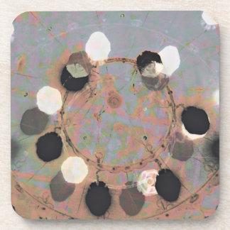 Black white dots grunge style unity digital art coaster