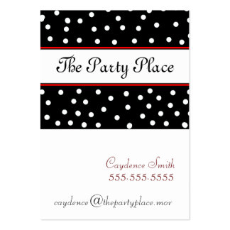 Black White Dots-Maroon Business Card Template
