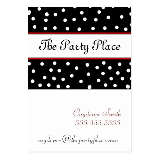 Black & White Dots-Maroon Business Card Template