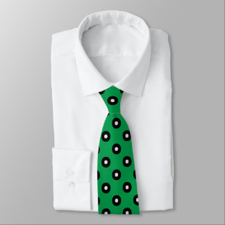 Black/White Dots on Irish Green Background Neck Tie