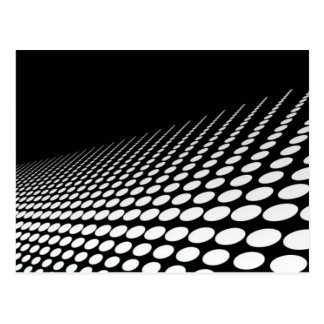 Black & white dots perspective postcard