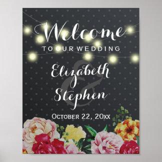 Black White Dots String Lights Floral Wedding Sign Poster
