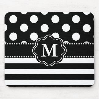 Black White Dots Stripe Monogram Mouse Pad