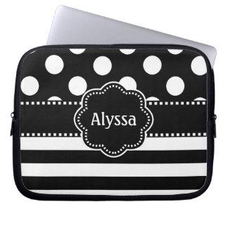 Black White Dots Stripe Personalized Laptop Sleeve