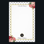"""Black White Dots Vintage Floral Monogram Name Stationery<br><div class=""""desc"""">This beautiful, elegant design features vintage red and pink roses against a high-contrast background of black dots on white. In the center is a gold-edged white area for writing. At the top, the text, &quot;From the Desk of&quot; appears in popular script typography. At the bottom, there is a white monogram...</div>"""