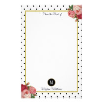 Black White Dots Vintage Floral Monogram Name Stationery