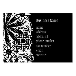 Black & White Dotted Flowers Chubby Business Card