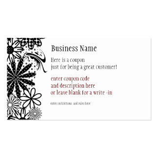 Black & White Dotted Flowers Coupon Business Card