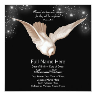 Black White Dove Memorial Service Announcements