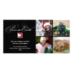 Black white dove peace on earth holiday greeting photo card