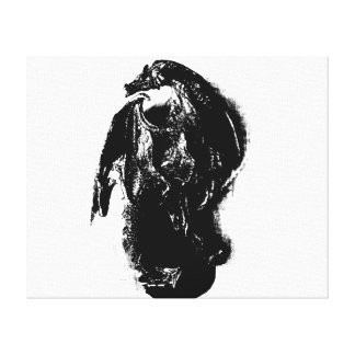 Black & White Dragon Canvas Print