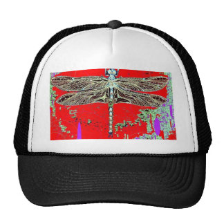 Black-white Dragonfly on red-purple by Sharles Trucker Hats