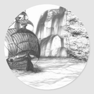 Black & White Drawing of a Sailing Ship Classic Round Sticker