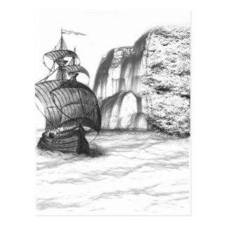 Black & White Drawing of a Sailing Ship Postcard