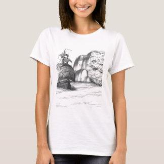 Black & White Drawing of a Sailing Ship T-Shirt