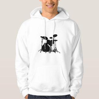 Black & White Drum Kit Silhouette - Drummers Hoodie