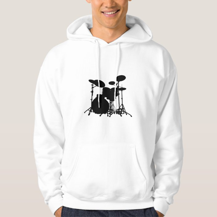 Retro Style Drummer Silhouette Back Print Long-Sleeved Hoody for Man