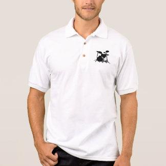 Black & White Drum Kit Silhouette - Drummers Polo Shirt