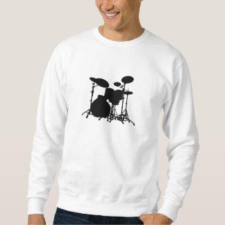 Black & White Drum Kit Silhouette - Drummers Sweatshirt