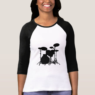 Black & White Drum Kit Silhouette - Drummers T-Shirt