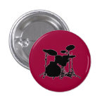 Black & White Drum Kit Silhouette - For Drummers 1 Inch Round Button