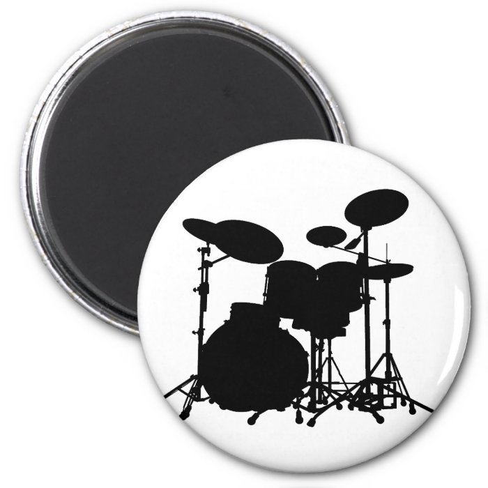 Black & White Drum Kit Silhouette - For Drummers 2 Inch Round Magnet