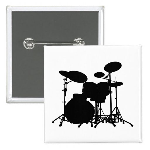 Black & White Drum Kit Silhouette - For Drummers 2 Inch Square Button