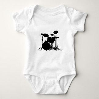Black & White Drum Kit Silhouette - For Drummers Baby Bodysuit