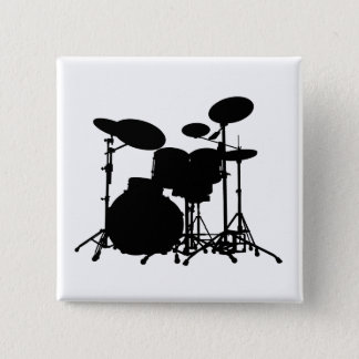 Black & White Drum Kit Silhouette - For Drummers Button