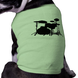 Black & White Drum Kit Silhouette - For Drummers Pet Tshirt