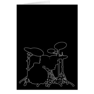 Black & White Drum Kit Silhouette - For Drummers Greeting Card