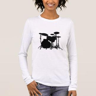 Black & White Drum Kit Silhouette - For Drummers Long Sleeve T-Shirt