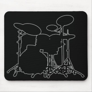 Black & White Drum Kit Silhouette - For Drummers Mouse Pad