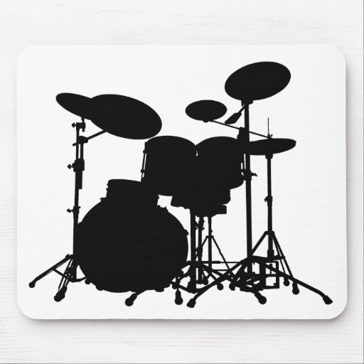 Black & White Drum Kit Silhouette - For Drummers Mouse Pads