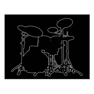 Black & White Drum Kit Silhouette - For Drummers Postcard