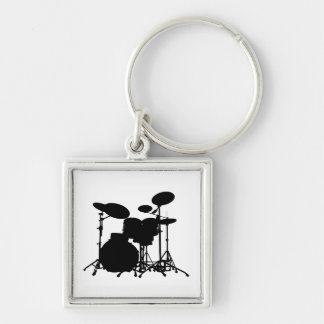 Black & White Drum Kit Silhouette - For Drummers Silver-Colored Square Keychain