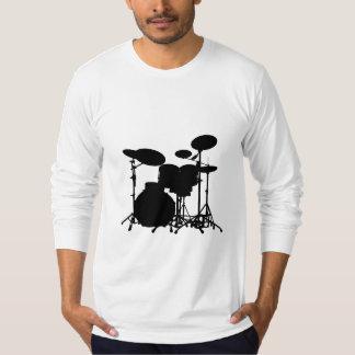 Black & White Drum Kit Silhouette - For Drummers T-Shirt