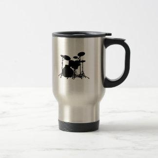 Black & White Drum Kit Silhouette - For Drummers Travel Mug